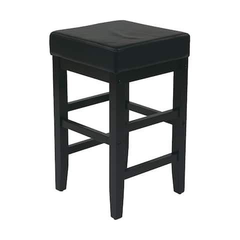 """25"""" Square Black Faux Leather Barstool with Espresso Legs"""