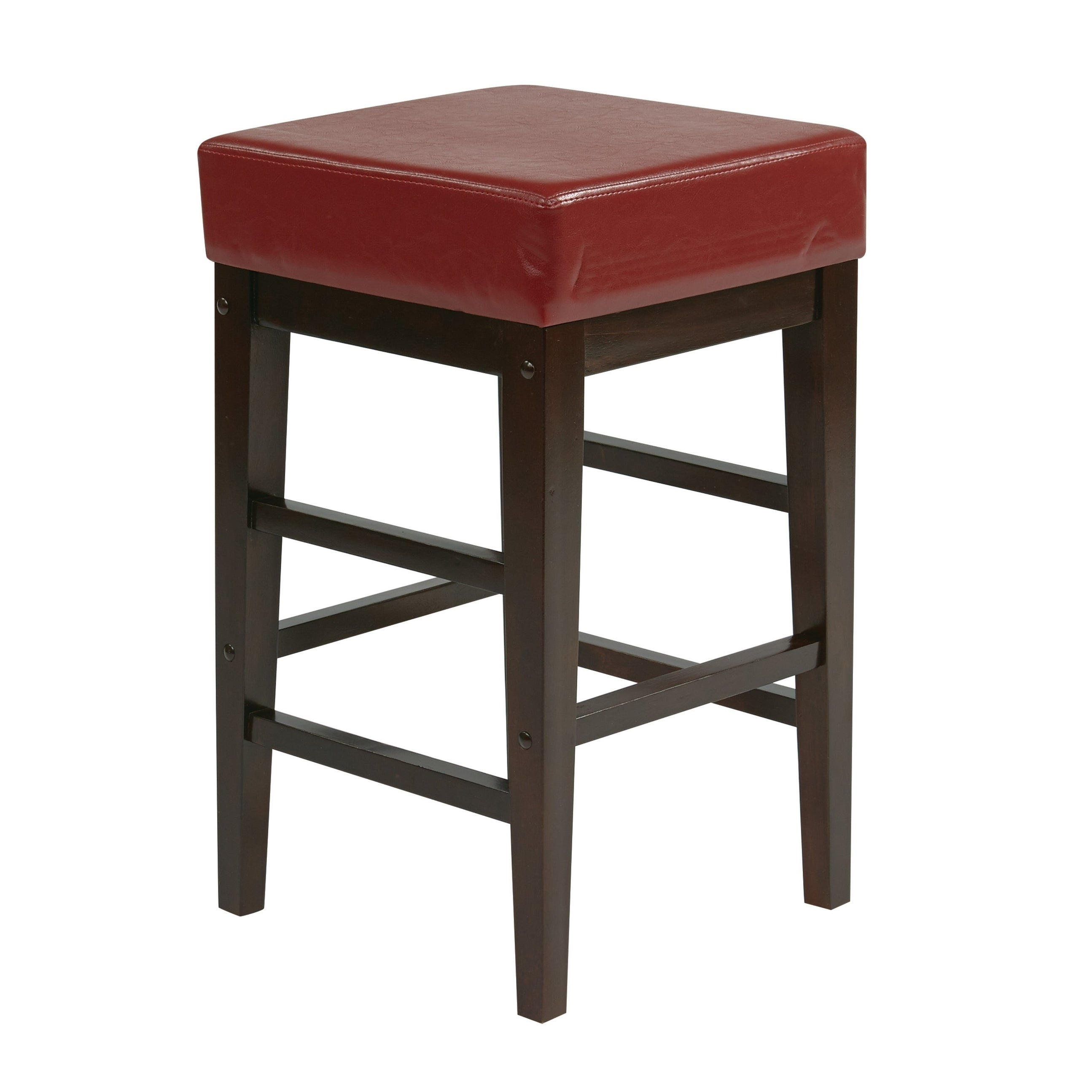 Astonishing Faux Leather Seat 25H Square Bar Wood Counter Stool Backless Uwap Interior Chair Design Uwaporg