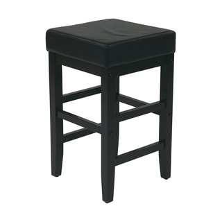"25"" Square Black Faux Leather Barstool with Espresso Legs"