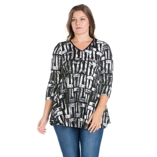24/7 Comfort ApparelThree Quarter Sleeve Plus Size Tunic Top