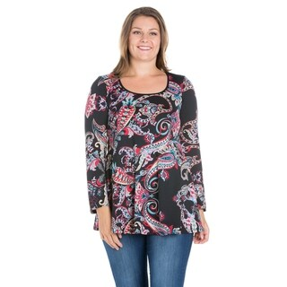24/7 Comfort Apparel Long Sleeve Plus Size Tunic Top