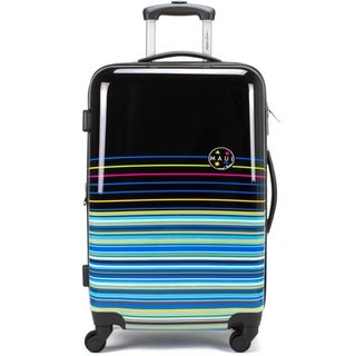 "Maui and Sons Stripes 20"" Expandable Hard Spinner Luggage, TSA lock"