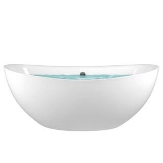 "AKDY 72"" White Acrylic Freestanding Soaking SPA Bathroom Bathtub w/ Drain & Overflow"