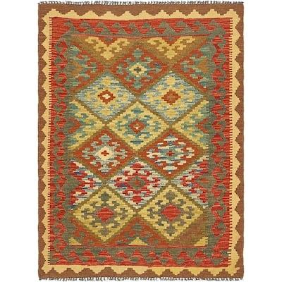 Hand Woven Kilim Maymana Wool Area Rug - 3' 8 x 5'
