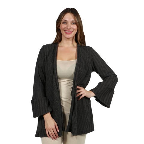 24/7 Comfort Apparel Ribbed Bell Sleeve Transitional Plus Size Cardigan