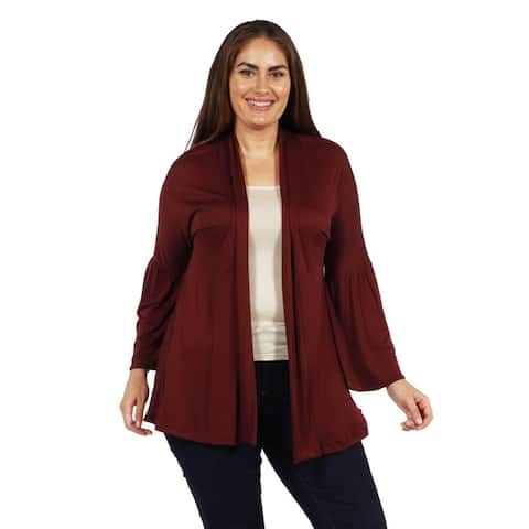 24/7 Comfort Apparel Bell Sleeve Flared Open Front Plus Size Cardigan
