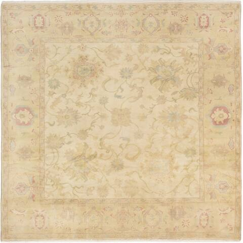 Hand-knotted Authentic Ushak Cream Wool Rug