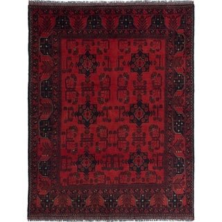 ECARPETGALLERY  Hand-knotted Finest Khal Mohammadi Red Wool Rug - 4'10 x 6'4