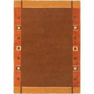 ECARPETGALLERY  Hand-knotted Karma Dark Brown Wool Rug - 6'0 x 9'0