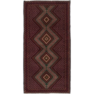 ECARPETGALLERY  Hand-knotted Royal Baluch Dark Red Wool Rug - 3'1 x 6'2