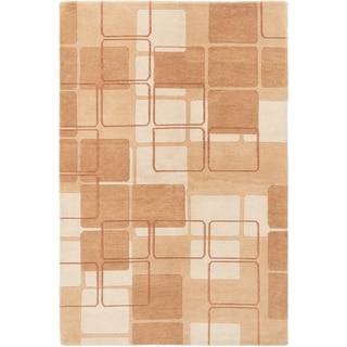ECARPETGALLERY  Hand-knotted Aurora Brown Wool Rug - 5'1 x 7'8