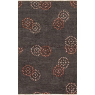 ECARPETGALLERY  Hand-knotted Shalimar Black Wool Rug - 4'10 x 7'7