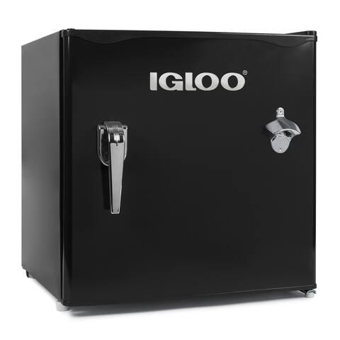 Igloo IRF16RSBK 1.6-Cu. Ft. Classic Refrigerator Freezer w/ Chrome Handle & Bottle Opener, Black