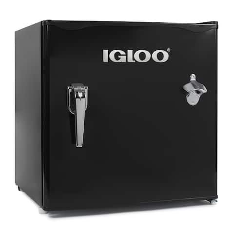 Igloo IRF16RSBK 1.6-Cu. Ft. Classic Refrigerator Freezer w/ Chrome Handle & Bottle Opener, Black
