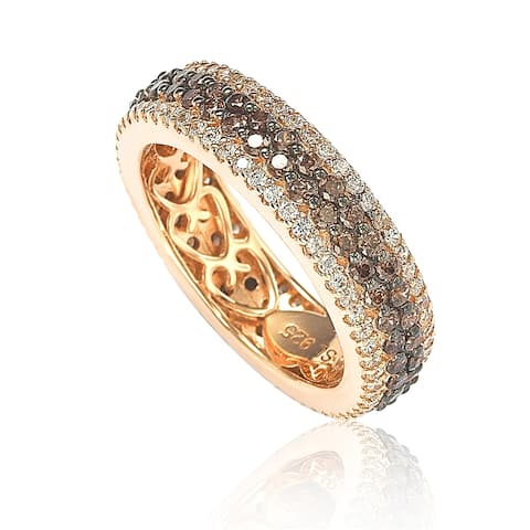Suzy L. Rosed Sterling Silver Brown Cubic Zirconia Eternity Band