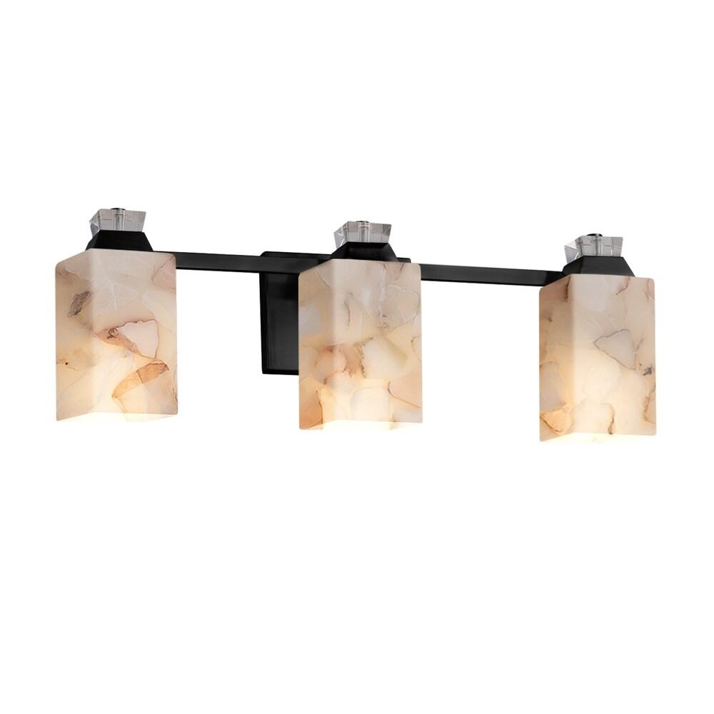 Cylinder with Flat Rim Alabaster Rocks Shade Alabaster Rocks! Brushed Nickel Finish Atlas 4-Light Bath Bar LED