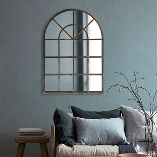 Allan Andrews Oil-rubbed Bronze Metal Arched Windowpane Mirror