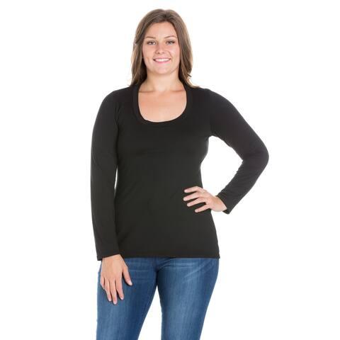 24/7 Comfort Apparel Solid Long Sleeve Scoop Neck Plus Size Top