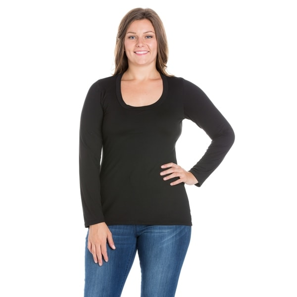 24/7 Comfort Apparel Solid Long Sleeve Scoop Neck Plus Size Top. Opens flyout.