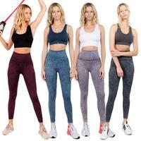 Women'S High Waist Acid Wash Workout Leggings