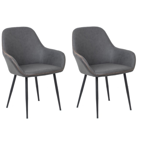 Bucket Style Upholstered Dining Chairs Set Of 2 Pack Dark Grey