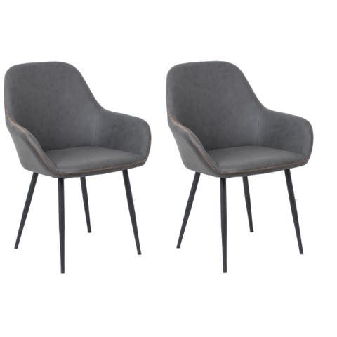 Bucket Style Upholstered Dining Chairs, Set of 2 pack, Dark Grey