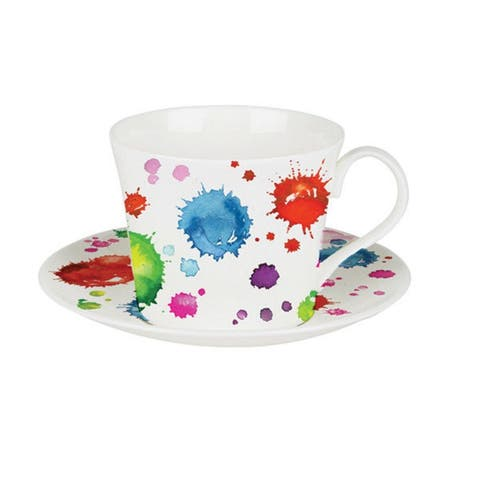 Roy Kirkham Breakfast Cups & Saucers - Splash Color (Set of 2)