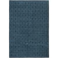 ECARPETGALLERY  Hand-knotted Karma Dark Baby Blue Wool Rug - 6'0 x 8'9