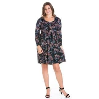 24/7 Comfort Apparel Plus Size Mini Long Sleeve Dress