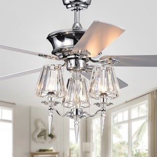 Onwen 52-inch 5-blade Chrome Lighted Ceilng Fans with Crystal Lamps (optional remote)