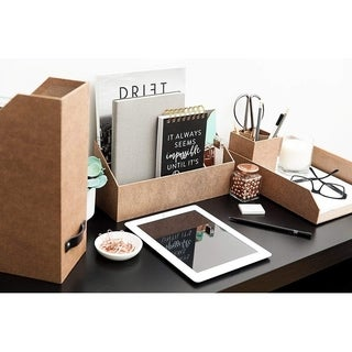 Blu Monaco 4 Piece Brown Paper Desk Organizer Set