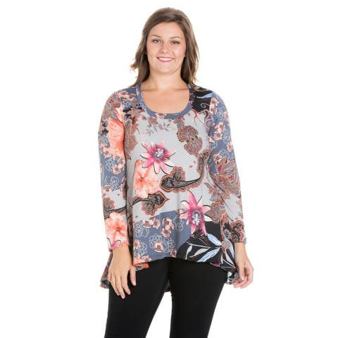 24/7 Comfort Apparel Plus Size Flared Long Sleeve Hi Low Tunic Top
