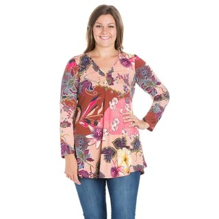 24/7 Comfort Apparel Long Sleeve Plus Size Henley Tunic Top
