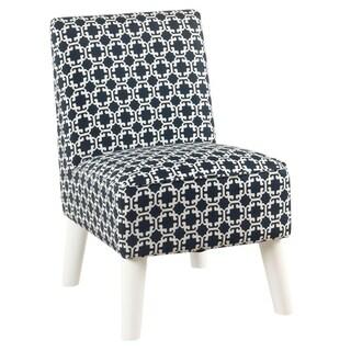 HomePop Kids Modern Slipper Chair- Indigo and White Lattice