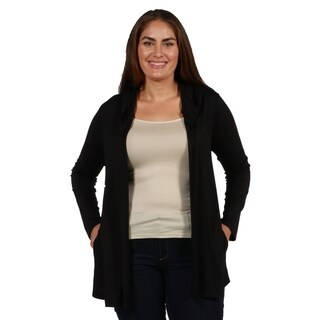 24/7 Comfort Apparel Best of Both Lightweight Plus Size Hoodie Cardigan
