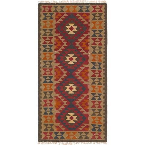 Hand Woven Kilim Maymana Wool Runner Rug - 3' 3 x 6' 5