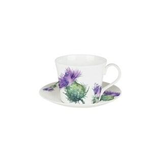 Roy Kirkham Breakfast Cups & Saucers - Thistles (Set of 2)