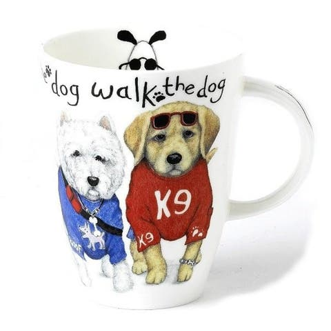 Roy Kirkham Mugs (Set of 6) - Animal Fashion Dog Walk, Louise Shape