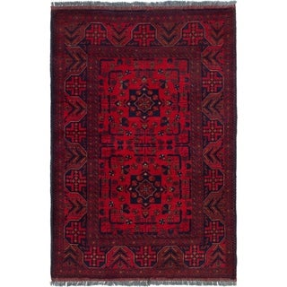 ECARPETGALLERY  Hand-knotted Finest Khal Mohammadi Red Wool Rug - 3'3 x 4'10