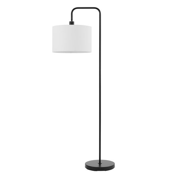 Shop Barden 58 Quot Matte Black Floor Lamp With White Linen