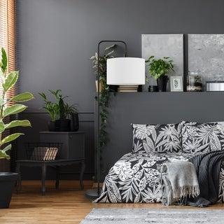 """Barden 58"""" Matte Black Floor Lamp with White Linen Shade"""