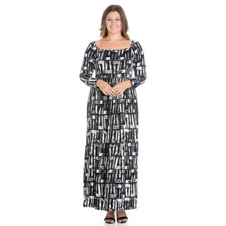 24/7 Comfort Apparel Long Sleeve Plus Size Maxi Dress