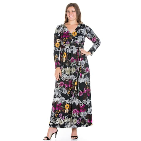 24/7 Comfort Apparel RLong Sleeve Plus Size Maxi Dress
