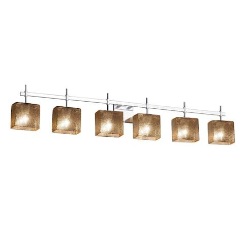 Justice Design Fusion Union 6-light Polished Chrome Bath Bar, Mercury Glass Rectangle Shade