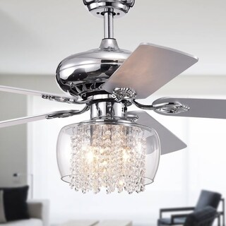Ennie 5-Blade 52-inch Chrome Lighted Ceiling Fans with Glass and Crystal Shade (remote controlled)