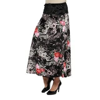 24/7 Comfort Apparel Floral Velvet Curvy Skirt