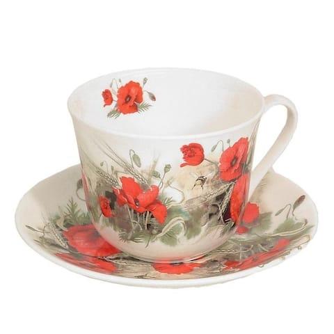 Roy Kirkham Breakfast Cups & Saucers - Poppy (Set of 2)