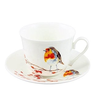 Roy Kirkham Breakfast Cups & Saucers - Robin (Bird Series) (Set of 2)