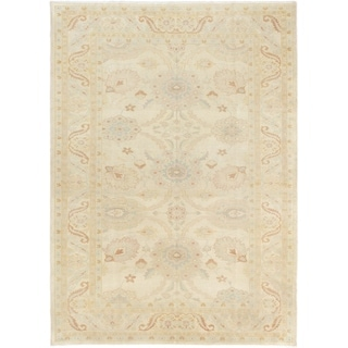 ECARPETGALLERY  Hand-knotted Authentic Ushak Cream Wool Rug - 6'3 x 8'6