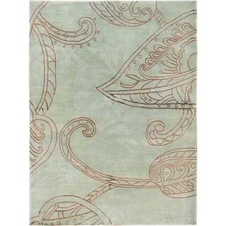 ECARPETGALLERY  Hand-knotted Karma Light Green Silk, Wool Rug - 5'6 x 7'5